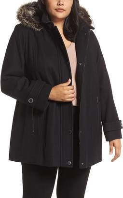 London Fog Hooded Wool Blend Coat with Faux Fur Trim