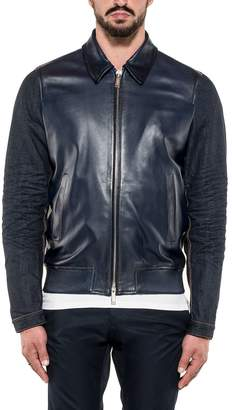 DSQUARED2 Blue Leather And Denim Jacket