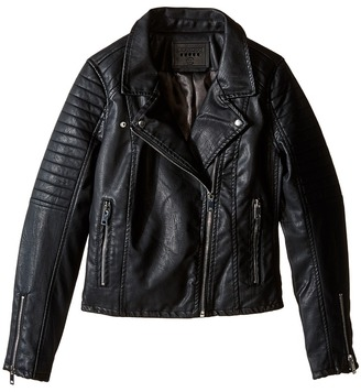 Blank NYC Kids - Vegan Leather Moto Jacket in Black Cat Girl's Coat $98 thestylecure.com