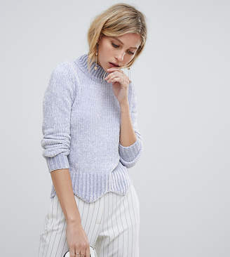 Oasis chenille sweater with scallop edge in lilac