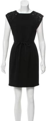 Andrew Gn Embroidered Wool Dress Black Embroidered Wool Dress