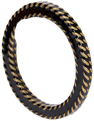 One Kings Lane Vintage Chanel Black & Gold Metal Bangle - Vintage Lux