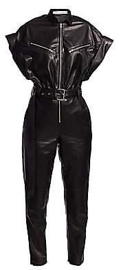 IRO Women's Moreno Short-Sleeve Leather Jumpsuit