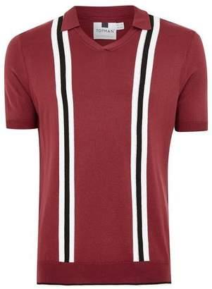 Topman Mens Red Revere Stripe Short Sleeve Knitted Polo
