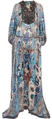 Roberto Cavalli Lace-Up Bead-Embellished Printed Silk-Georgette Maxi Dress