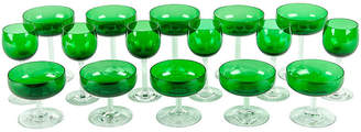 One Kings Lane Vintage Emerald-Colored Glassware Set - Set of 16 - La Maison Supreme
