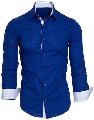 CieKen Men Shirts Men Blouse Long Sleeve,Men's Autumn Casual Formal Solid Slim Fit Long Sleeve Dress Shirt Top Blouse,Exercise Fitness Apparel