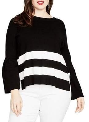 Rachel Roy Plus Oversized Striped Sweater