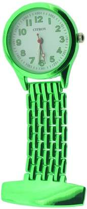 Citron Unisex Quartz Watch with White Dial Analogue Display and Green Strap NW13/A