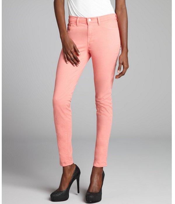 J Brand coral stretch denim twill skinny leg jeans