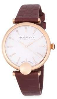 Bruno Magli Diamond & Rose-Gold Tone, Stainless Steel Leather-Strap Watch