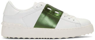 Valentino White and Khaki Garavani Rockstud Open Sneakers