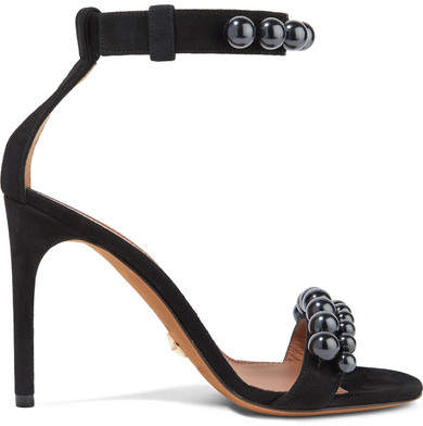 Givenchy - Classic Line Beaded Suede Sandals - Black