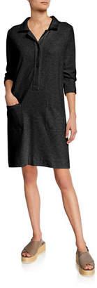 Joan Vass 3/4-Sleeve Button-Front Cotton Interlock Shirtdress w/ Pockets