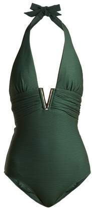 Heidi Klein Polynesia V Bar Ribbed Swimsuit - Womens - Dark Green