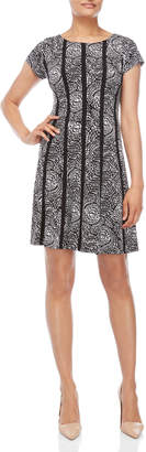 Connected Apparel Printed Short Sleeve A-Line Dress