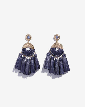 Express Raffia Tassel Drop Earrings