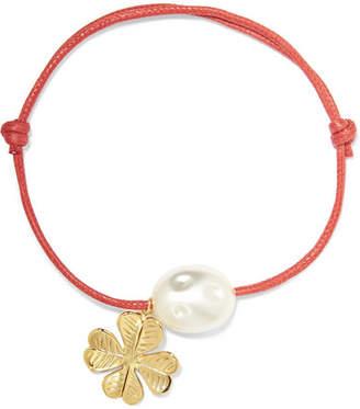 Aurelie Bidermann Grigri Gold-tone, Faux Pearl And Cotton Bracelet - Red