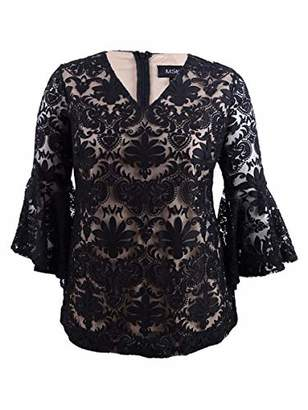 MSK Women's Exaggerated Bell Sleeve Cocktail TOP with LACE Motif