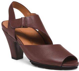 Leather Comfort Peep Toe Heels
