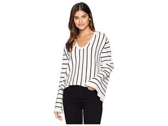 Moon River V-Neck Stripe Sweater Women's Sweater
