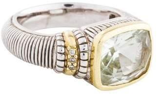 Judith Ripka Prasiolite & Diamond Cushion Ring