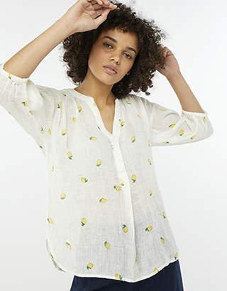 Monsoon Lemon Print Linen Gauze Top