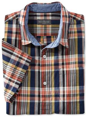 L.L. Bean L.L.Bean Signature Summer Indigo Madras Popover Shirt, Short-Sleeve Plaid