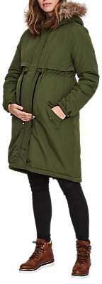 a4d8be6ebec7f Mama Licious Mamalicious Padded Parka Maternity Coat, Green