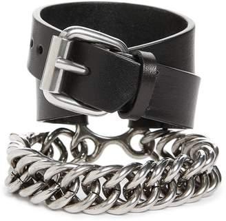 Alexander Wang Leather & Chain Double Wrap Bracelet