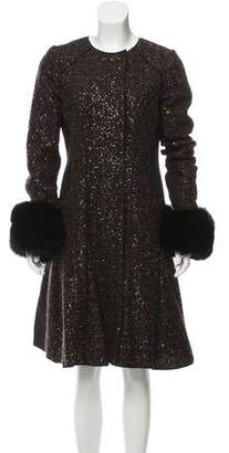 J. Mendel Embellished Fur-Trimmed Coat