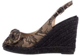 Valentino Lace Slingback Espadrille Wedge Sandals
