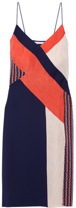 Diane von Furstenberg - Frederica Paneled Printed Stretch-silk Dress - Navy $470 thestylecure.com