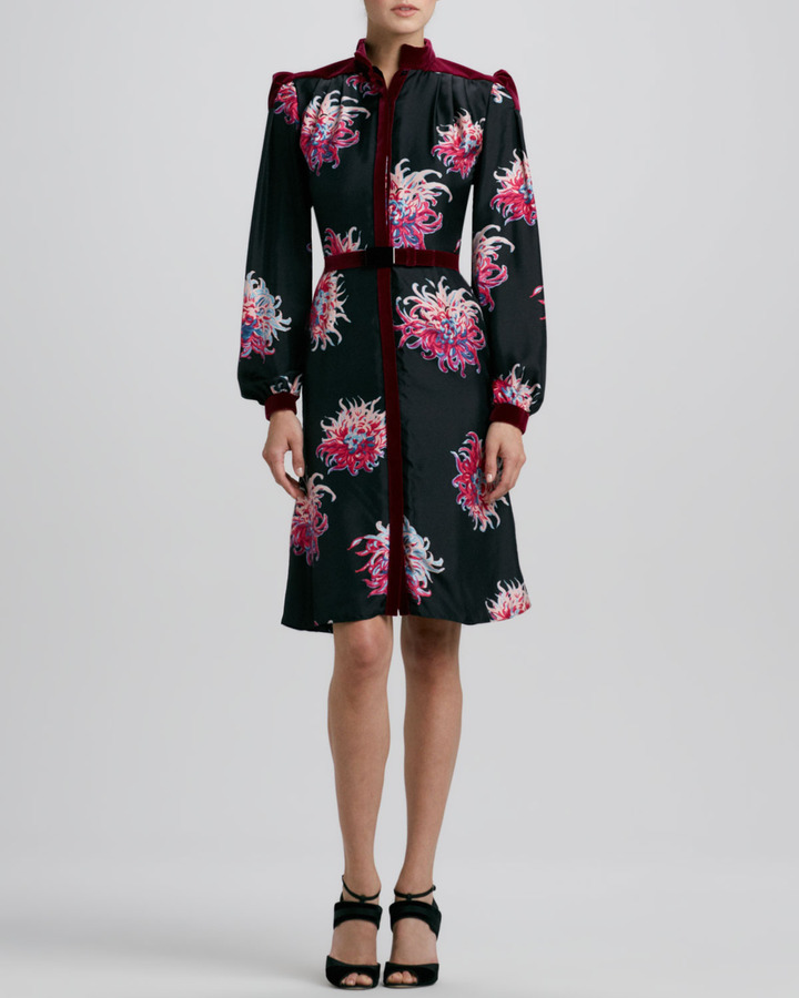 Carolina Herrera Silk Dahlia-Print Dress