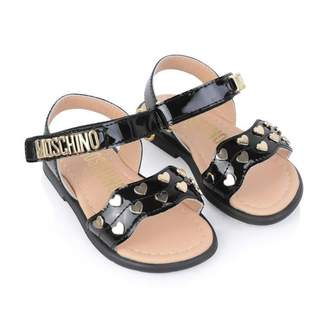 Moschino MoschinoGirls Patent Black Heart Sandals