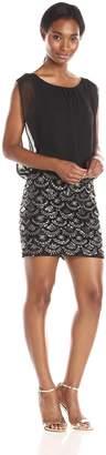 Aidan Mattox Aidan by Women's Printed Sequin Blouson Dress, Black/Gold