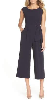 Tahari Sleeveless Crepe Crop Jumpsuit