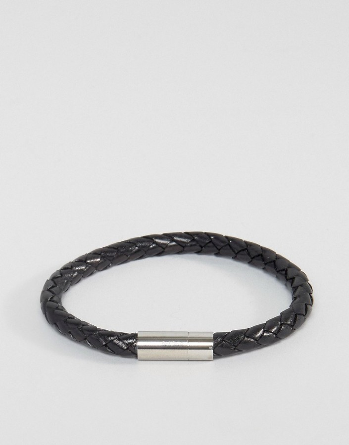 Paul Smith Paul Smith Leather Woven Bracelet In Black
