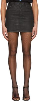 Saint Laurent Black Coated Denim Miniskirt