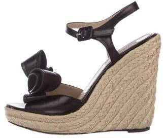 Valentino Leather Bow-Accented Espadrilles