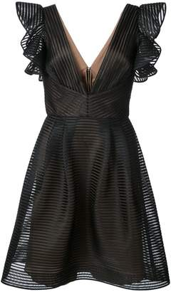 Marchesa ruffled fit-and-flare dress