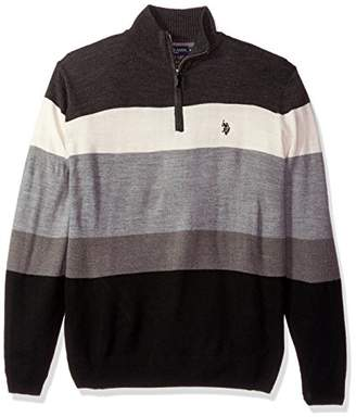 U.S. Polo Assn. Men's Double Striped 1/4 Zip Sweater