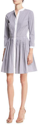 MICHAEL Michael Kors Long-Sleeve Pinstriped Fit-&-Flare Dress