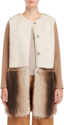 Yves Salomon Color Block Real Shearling & Fur Coat