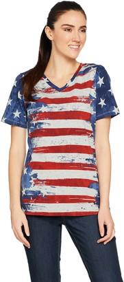 Denim & Co. American Flag Print Short Sleeve V-Neck Top