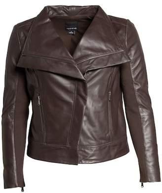 Trouve Trouv? Drape Front Leather Jacket