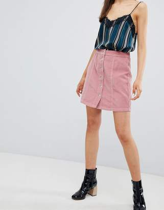 New Look Button Through Cord Mini Skirt