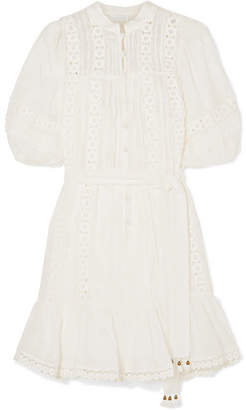 Zimmermann Castile Crochet-paneled Embroidered Ramie Mini Dress - Ivory