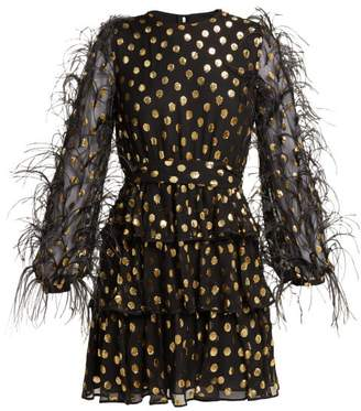 Valentino Feather Trim Fil Coupe Silk Blend Mini Dress - Womens - Black Gold