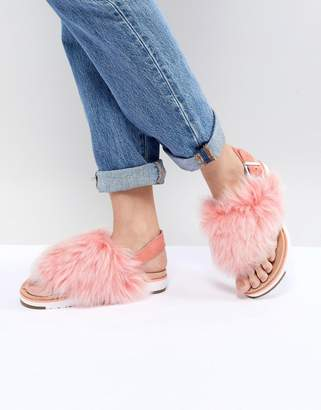 UGG Holly Pink Fluffy Buckle Back Flat Sandals